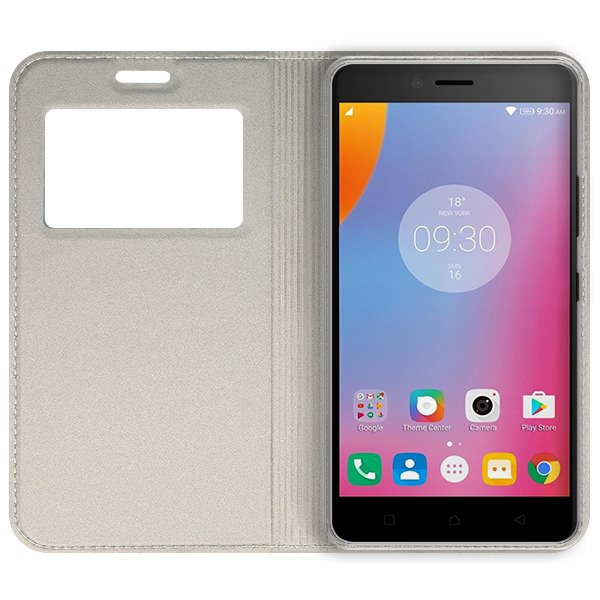 LOOK FLIP CASE TPU WINDOW VIEW LENOVO K6 NOTE GOLD + GLASS 9H