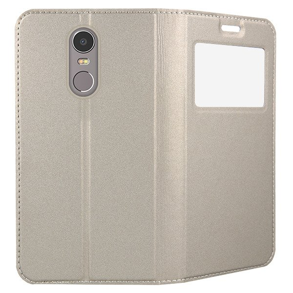 LOOK FLIP CASE TPU WINDOW VIEW LENOVO K6 NOTE GOLD + GLASS 9H 112060