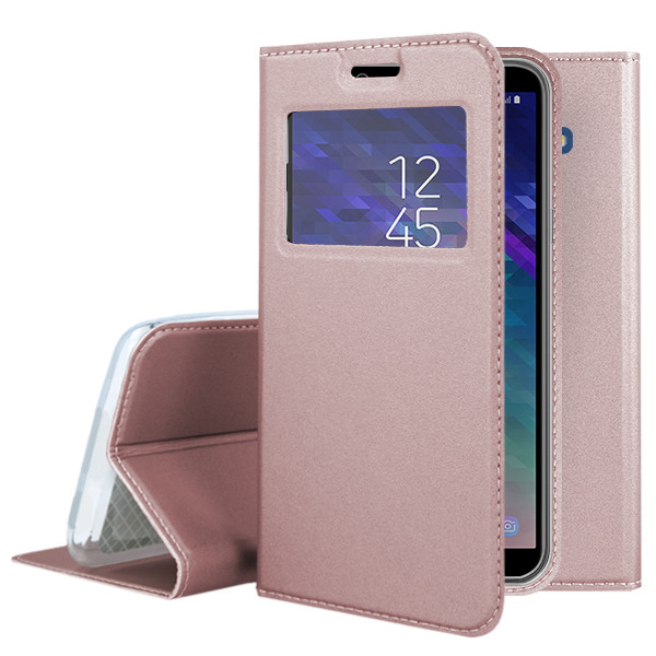 best sneakers f7577 e61ed LOOK FLIP CASE WINDOW VIEW SAMSUNG GALAXY A6 PLUS 2018 PINK-GOLD GLASS