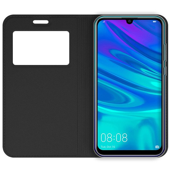 best service e21a9 88e97 LOOK FLIP CASE COVER TPU WINDOW VIEW HUAWEI HONOR 10 LITE BLACK + GLASS