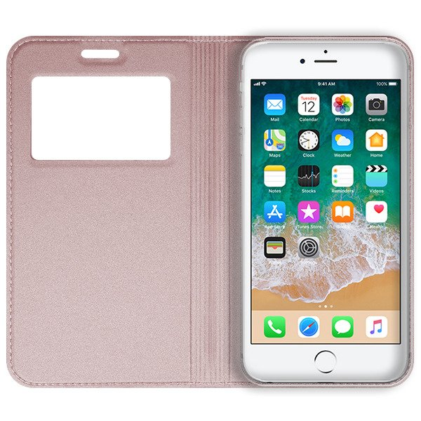 official photos d40e1 ee0a9 LOOK FLIP SLIM CASE COVER TPU WINDOW VIEW IPHONE 6 6S PINK-GOLD