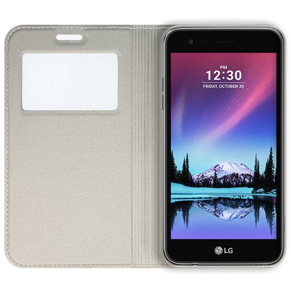 official photos 367f8 403b3 LOOK FLIP SLIM CASE COVER TPU WINDOW VIEW LG K8 2017 GOLD