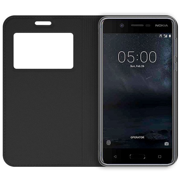 premium selection bc3b8 d258f LOOK FLIP SLIM CASE COVER TPU WINDOW VIEW NOKIA 5 BLACK 110982 | VegaCom