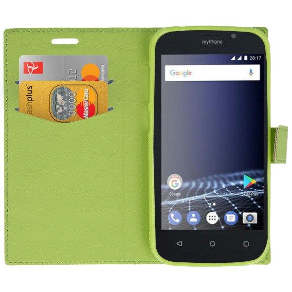 brand new ed32a 1b902 ORIGINAL WALLET FLIP CASE COVER MYPHONE POCKET 2 GREEN
