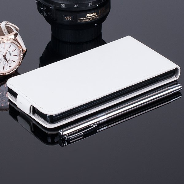 SLIM FLIP CASE COVER RUBBER magnet HUAWEI ASCEND P8 LITE WHITE color