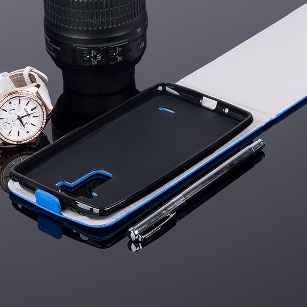 SLIM FLIP FLEX CASE COVER RUBBER magnet LG G4 STYLUS BLUE color