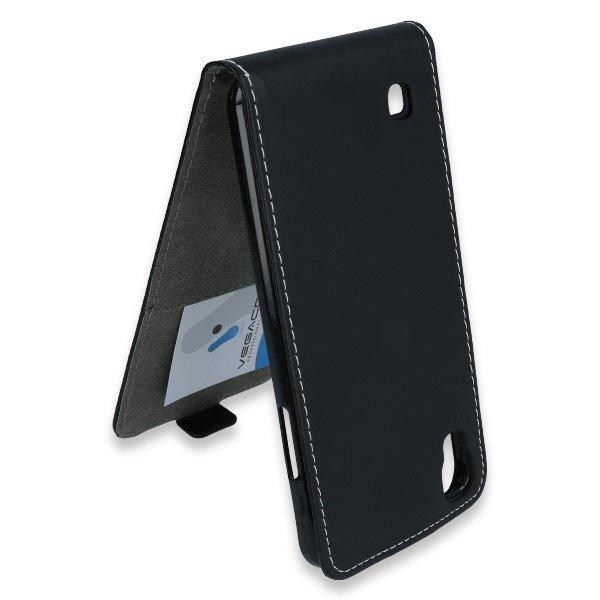 Slim Flip Flex Case Cover Rubber Magnet Lg X Power Black 47574 Vegacom