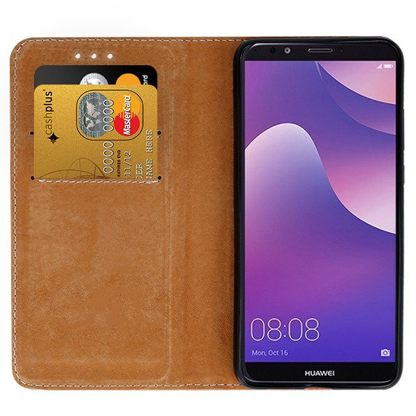 WALLET CASE COVER GENUINE LEATHER HUAWEI Y7 2018 BLACK + GLASS 9H