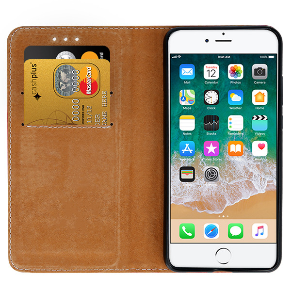 the latest b0c4e e03ec WALLET CASE COVER GENUINE LEATHER IPHONE 6 6S PLUS BLACK