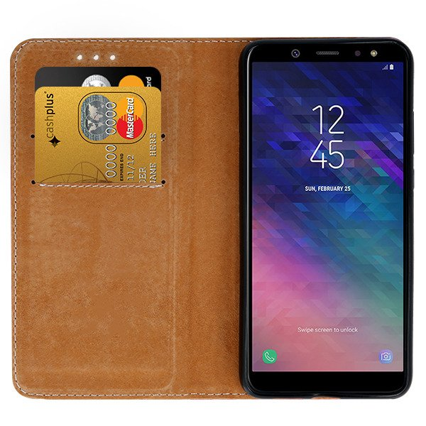 WALLET CASE COVER GENUINE LEATHER SAMSUNG GALAXY A6 PLUS 2018 BLACK