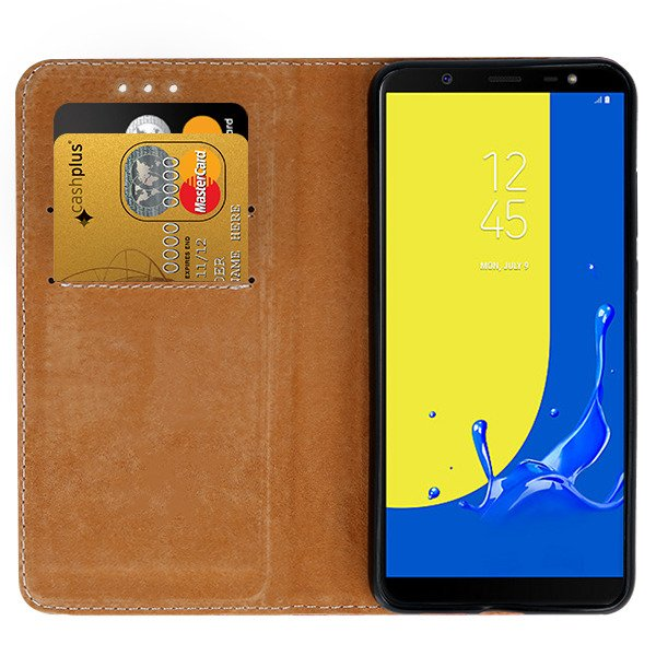 low priced 298ea 665e7 WALLET CASE COVER GENUINE LEATHER SAMSUNG GALAXY J8 2018 SM-J800 BLACK