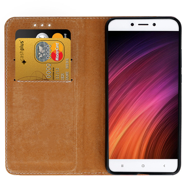 WALLET CASE COVER GENUINE LEATHER XIAOMI REDMI 4X BLACK