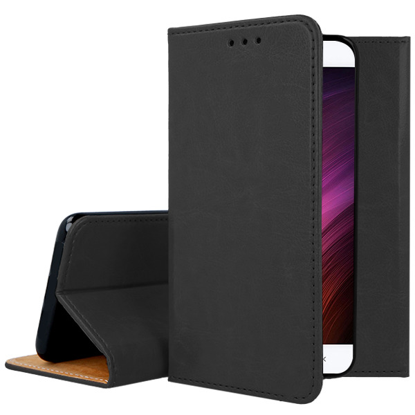 WALLET CASE COVER GENUINE LEATHER XIAOMI REDMI 4X BLACK + GLASS 9H
