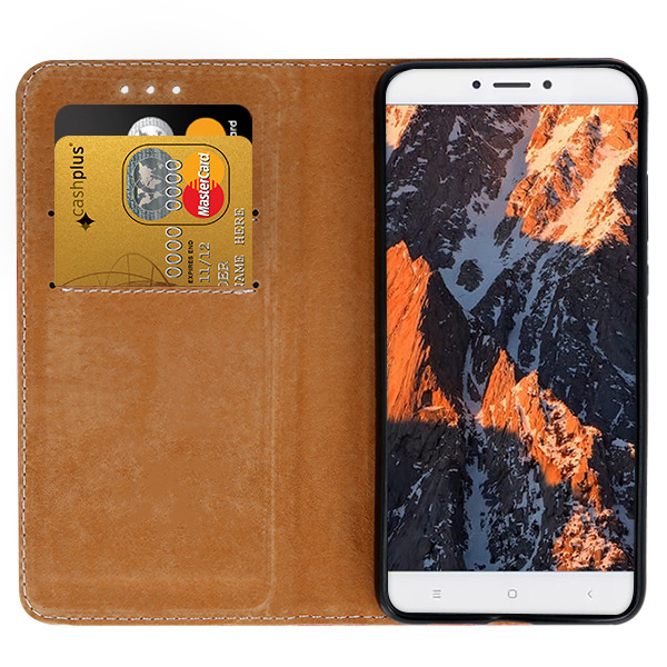 WALLET CASE COVER GENUINE LEATHER XIAOMI REDMI NOTE 4X BLACK +GLASS 9H