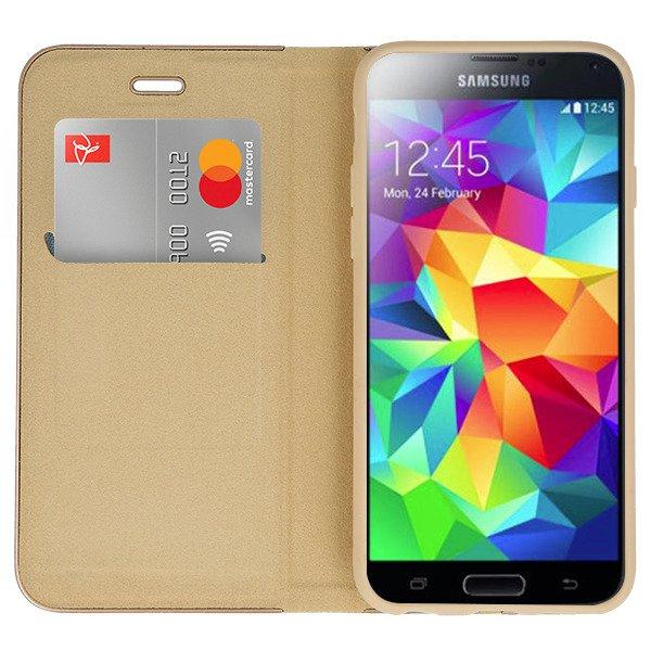 meet 2b14c 91d44 WALLET FLIP CASE Magnetic POSH SAM GALAXY S5 SM-G900 GOLD +GLASS