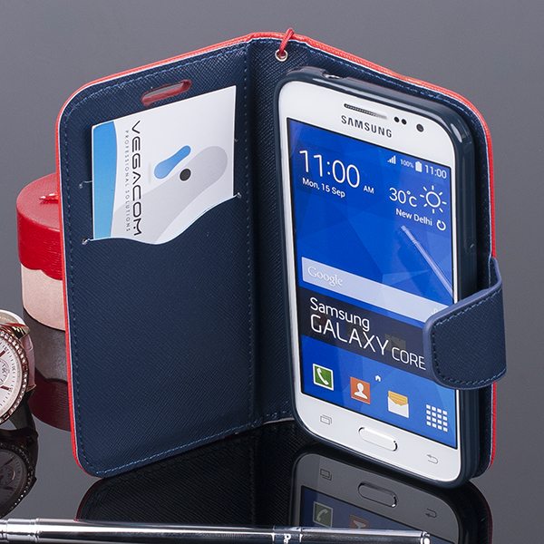 WALLET CASE COVER SAMSUNG GALAXY CORE PRIME G360 pocketbook red-navy