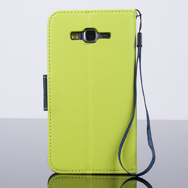 WALLET CASE COVER SAMSUNG GALAXY GRAND PRIME G530 lime green and navy