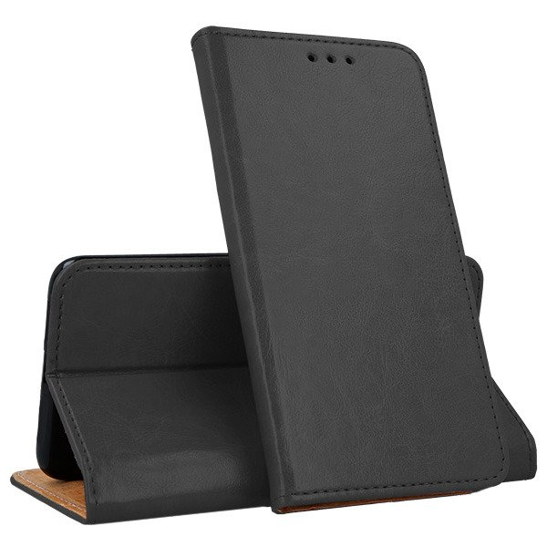 WALLET CASE GENUINE LEATHER SAMSUNG GALAXY A6 PLUS 2018 BLACK + GLASS