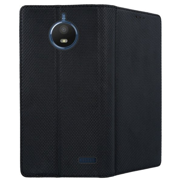 new style 5f52f 4abb4 WALLET FLEX FLIP CASE COVER Magnetic SmartCase MOTOROLA MOTO E4 BLACK