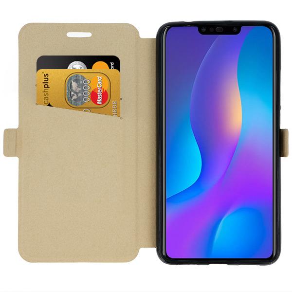 WALLET FLIP CASE COVER MAGNET pocketbook HUAWEI NOVA 3I GOLD + GLASS