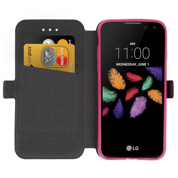 new concept 08a69 71d5d WALLET CASE COVER MAGNET pocketbook LG K3 PINK + GLASS 9H