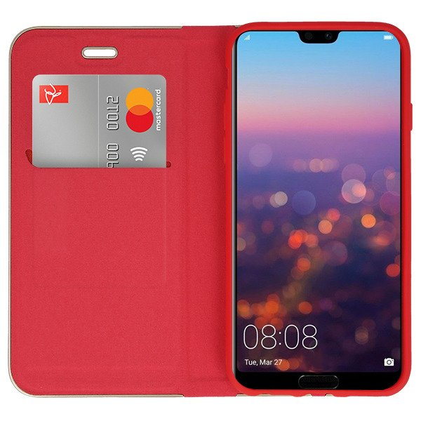 watch 4b5f9 f63ef WALLET FLIP CASE COVER Magnetic POSH HUAWEI P20 PRO RED