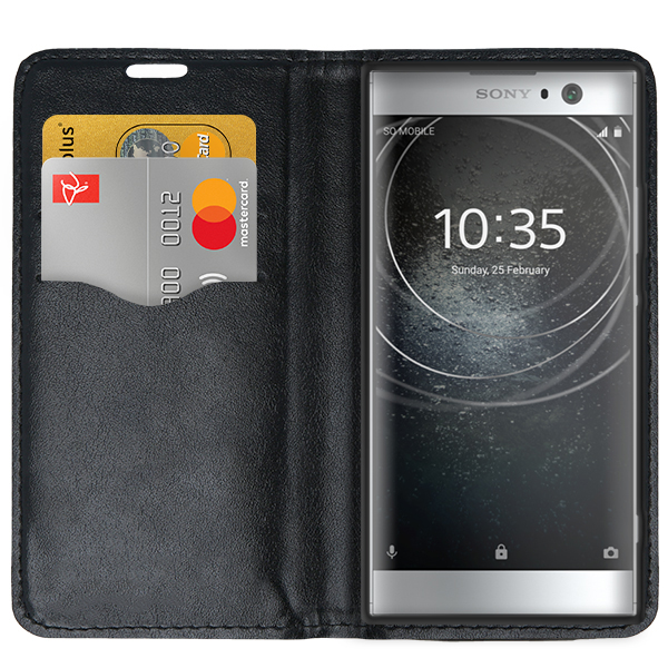 official photos a5fd8 a1c8f WALLET FLIP CASE COVER Magnetic SmartBook SONY XPERIA XA2 BLACK