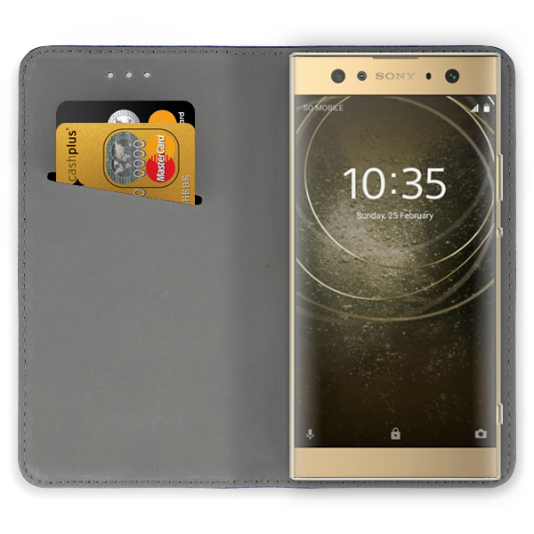 premium selection db921 c58f4 WALLET FLIP CASE COVER Magnetic SmartCase SONY XPERIA XA2 ULTRA NAVY