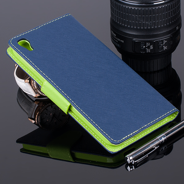 WALLET FLIP CASE COVER pocketbook ALCATEL OT IDOL 3 5.5 Navy and lime