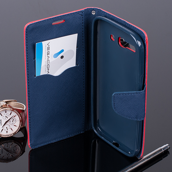 WALLET FLIP CASE COVER pocketbook ALCATEL OT POP C9 7047 red-navy