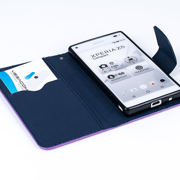 WALLET FLIP CASE COVER pocketbook RUBBER SONY XPERIA Z5 COMPACT PURPLE