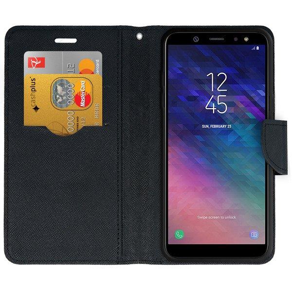 the best attitude b15b5 6b075 WALLET FLIP CASE MAGNET pocketbook SAMSUNG GALAXY A6 PLUS 2018 BLACK