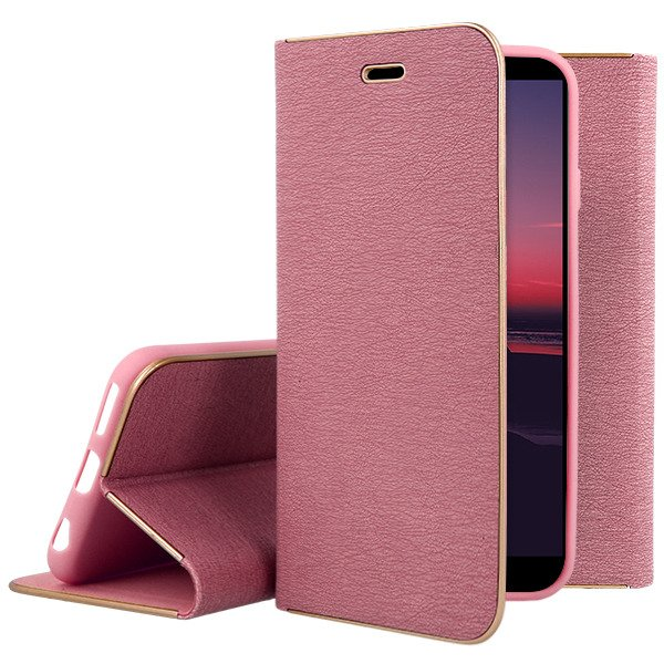new concept 886a9 fc1e0 WALLET FLIP CASE Magnetic POSH HUAWEI HONOR 7A PINK +GLASS
