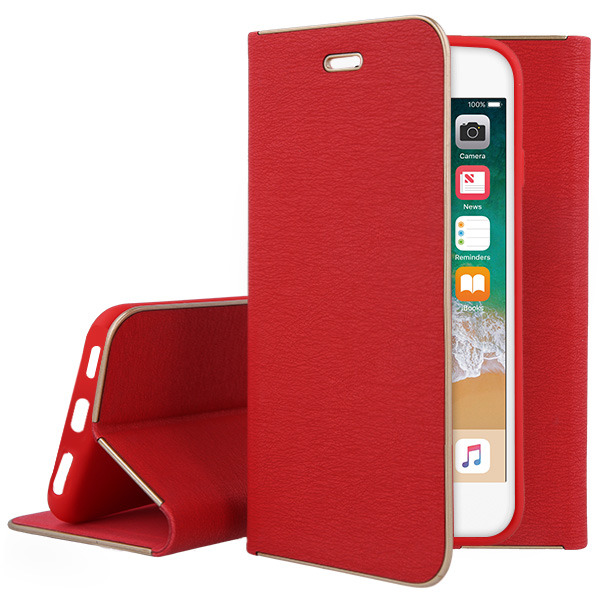 WALLET FLIP CASE Magnetic POSH XIAOMI REDMI NOTE 4 RED + GLASS 9H