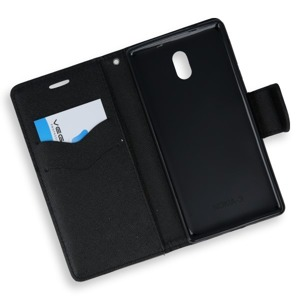 2in1 WALLET FLIP CASE COVER MAGNET pocketbook NOKIA 3 BLACK