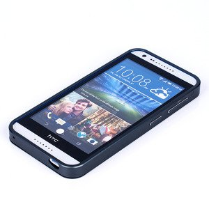 ALUMINIUM FRAME BUMPER CASE COVER HTC DESIRE 820 MINI BLACK + Glass