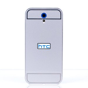 ALUMINIUM FRAME BUMPER CASE COVER HTC DESIRE 820 MINI SILVER + Glass