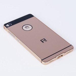 ALUMINIUM FRAME BUMPER CASE COVER HUAWEI ASCEND P8 GOLD + Glass