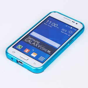 ALUMINIUM FRAME CASE COVER for GALAXY CORE PRIME G360 BLUE + Glass