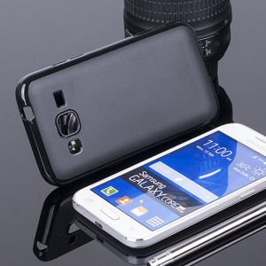BACK CASE COVER CLEAR GEL TPU SAMSUNG GALAXY CORE PRIME SM-G360 BLACK