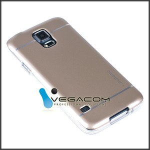BACK CASE COVER MOTOMO TPU GEL RUBBER SAMSUNG GALAXY S5 SM-G900 GOLD
