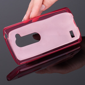 BACK CASE COVER RUBBER for LG LEON Ultra slim thin 0.3mm RED