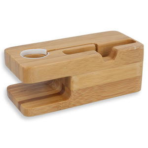 Bamboo wood DOCK STAND CHARGER PLATFORM HOLDER APPLE WATCH AND IPHONE