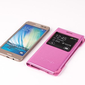 CASE COVER TPU WINDOW VIEW FOR SAMSUNG GALAXY A3 SM-A300 PINK