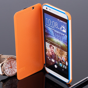 DOT VIEW FLIP CASE WALLET COVER pocketbook HTC DESIRE 620 ORANGE