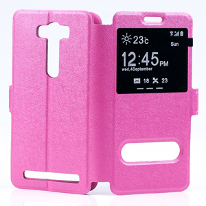FLIP SLIM CASE COVER TPU WINDOW VIEW FOR ASUS ZENFONE 2 LASER 5 PINK