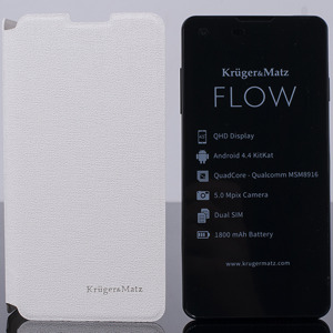 ORIGINAL WALLET FLIP CASE COVER KRUGER MATZ FLOW WHITE
