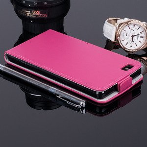SLIM FLIP CASE COVER RUBBER magnet HUAWEI ASCEND P8 LITE PINK color