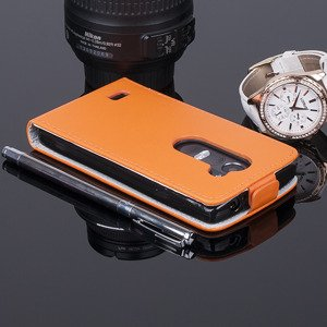 SLIM FLIP CASE COVER magnet TPU LG LEON / LEON LTE ORANGE