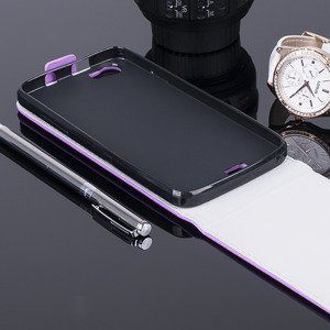 SLIM FLIP CASE COVER magnet TPU WIKO LENNY PURPLE